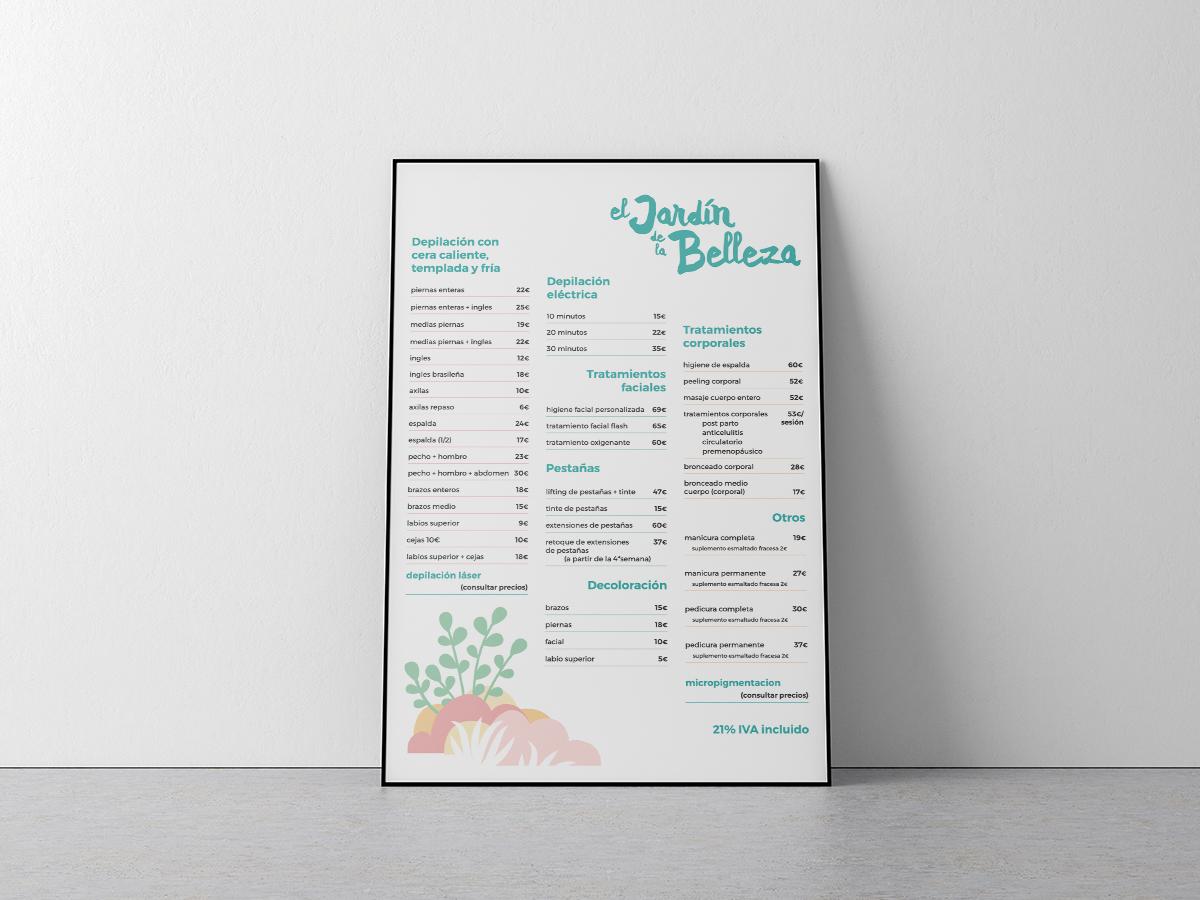 Cartel de precios del Jardín de la Belleza